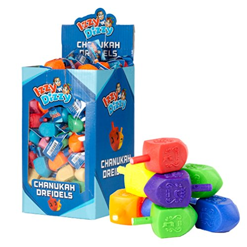 50 Large Dreidels - Assorted Colors - Classic Chanukah Spinning Draidel Game, Gift and Prize - Bulk Value Pack - By Izzy n Dizzy (Hay Day Decorations)