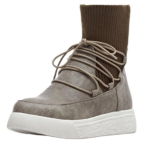 Winter Autumn Boots Gray Shoes Platform KemeKiss High Comfortable Top Women ZqtRBv