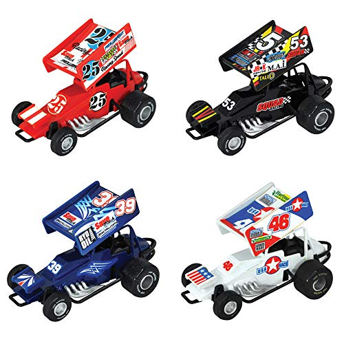 Kipp Brothers Sprint Car Pull Back Racing Toy Cars with Decals - Pack of - Sprint Car Diecast