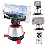 Panoramic Self-timer PTZ, PULUZ Electronic Intelligent 360 Degree Rotation Tripod Head with IR Remote Controller & Build-in Bluetooth for Most of Smartphones & Cameras (Tripod Head Red)