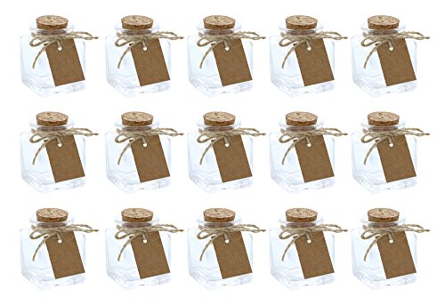 Clear Glass Bottles with Cork Lids- 15-Pack of Mini Transparent Squared Jars with Stoppers for Vintage Wedding Decoration, DIY, Home, Party Favors, (Corked Glass Jars)