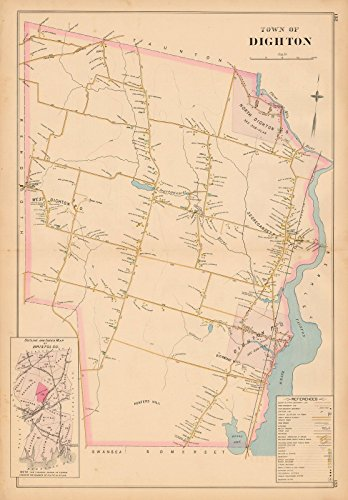 Historic Pictoric Map | New Topographical Atlas of Surveys Bristol County Massachusetts, Dighton 1895 | Vintage Poster Art Reproduction | 24in x 18in