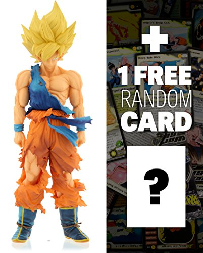 "Super Saiyan Goku: ~13.4"" DragonBall Z x Master Stars Piece Supreme Statue Figurine + 1 FREE Official DragonBall Trading Card Bundle (344078)"