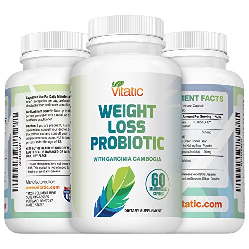 NEW Probiotic Weight Loss Diet Supplement - with Garcinia Cambogia, Green Coffee & White Kidney Bean 60 Delayed Release Daily Capsules Promotes Healthy Weight Loss and Appetite Suppressant by Vitatic