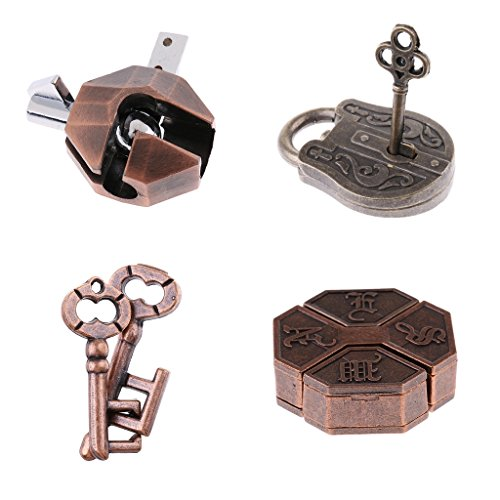 - Fenteer 4X Chinese Classic Brain Teasers Metal Magical Lock Puzzle for Kids & Adults