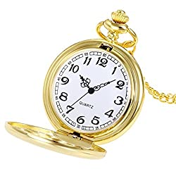 Watch,YJYdada Crown Unisex Fashion Bronze Chain Necklace Pocket Watch (Gold)