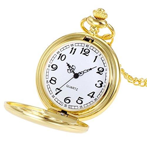 Watch,YJYdada Crown Unisex Fashion Bronze Chain Necklace Pocket Watch (Gold) ()