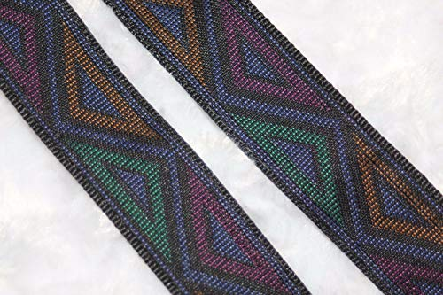 $1 Yard Purple Black Magenta Gold Teal Tapestry Woven Sewing Ribbon Trim 1'' - Trim Tapestry