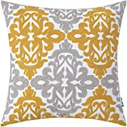 HWY 50 Yellow and Light Grey Throw Pillows Covers 18 x 18 inch, for Couch Bed Bedroom Indoor, Embroidered Squa