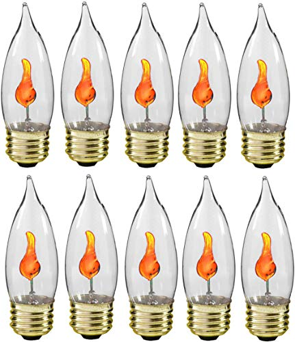 Creative Hobbies® 10J Flicker Flame Light Bulb -Flame Shaped, E26 Standard Base, Flickering Orange Glow - Box of 10 Bulbs]()