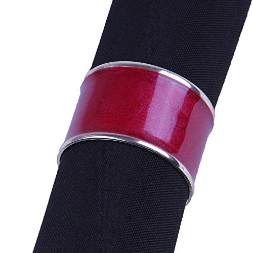 Red Enamel Napkin Rings with Gold Border, Set of 6 in Organz