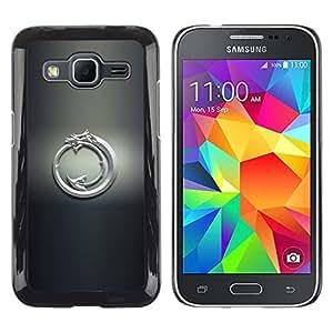 // PHONE CASE GIFT // Duro Estuche protector PC Cáscara Plástico Carcasa Funda Hard Protective Case for Samsung Galaxy Core Prime / White Dragon Tribal /
