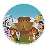 iPrint Thick Round Beach Towel Blanket,Religious,The Ark Illustration Before Journey All Animals Myth Faith Grace Old Stories,Multicolor,Multi-Purpose Beach Throw