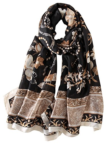 NUWEERIR Womens 100% Mulberry Silk Scarf Long Satin Scarf Fashion Designer Scarf Lightweight Wraps