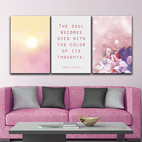 3 Panel Fresh Color Flowers with Inspirational Quotes Gallery x 3 Panels