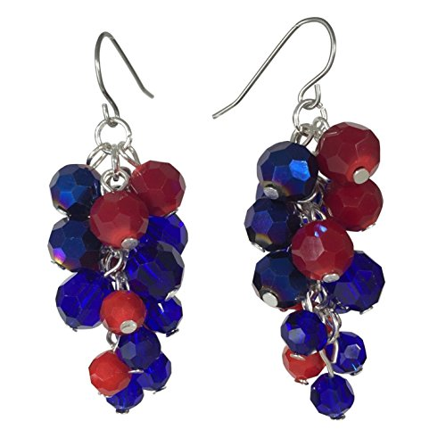 Glass Bead Cluster Multi Color Silver Tone Dangle Earrings (Red & Blue)