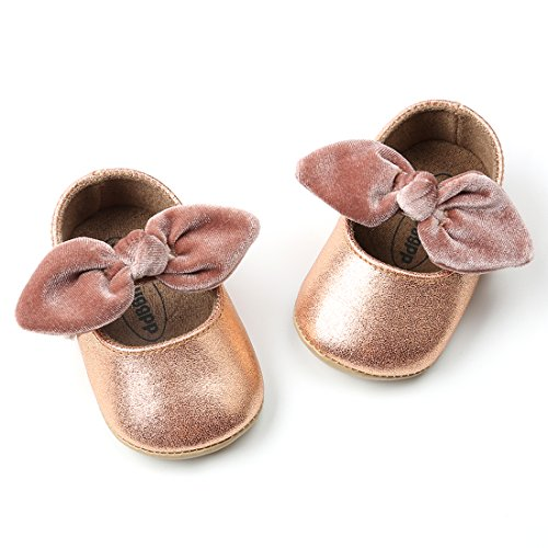 Baby Girls Mary Jane Flats Anti-Slip Rubber Sole Bow Toddler Princess Dress Shoes Champagne Gold