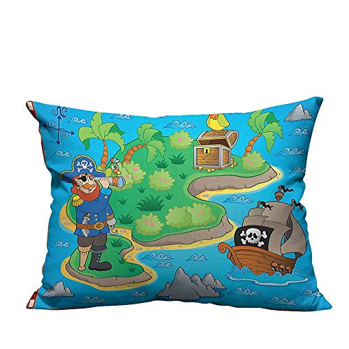 (YouXianHome Decorative Throw Pillow Case Funny Cartoon of Treasure Island with A Pirate Ship and Parrot Kids Ideal Decoration(Double-Sided Printing) 13.5x19 inch)