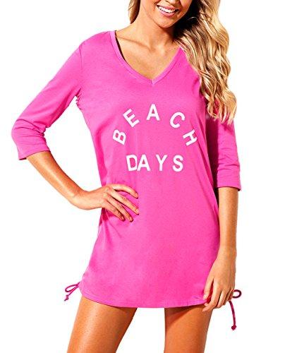 Sheer Beachwear Blouse Bikini Bathing Suit Cover up Dress X-Large Size Rosy (Bikini Tshirt Cover)