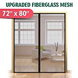 Upgraded 72'x80' Magnetic Screen Door for French Door, Durable Fiberglass Double Door Screen Mesh Curtain Fits Door Opening up to 70'x79'' Keep Bugs Out