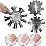 SILPECWEE 3 Pack Easy French Smile Line Acrylic Gel Cutter Tool C-Shape Manicure Edge Trimmer Stencil Template Tips (29 Size)