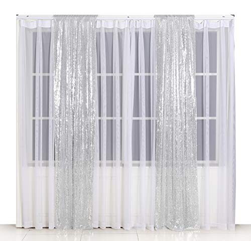 Poise3EHome 2ft x 8ft Sequin Photography Backdrop Curtain 2 Panels for Party Decoration, Silver (Silver Panel 8)