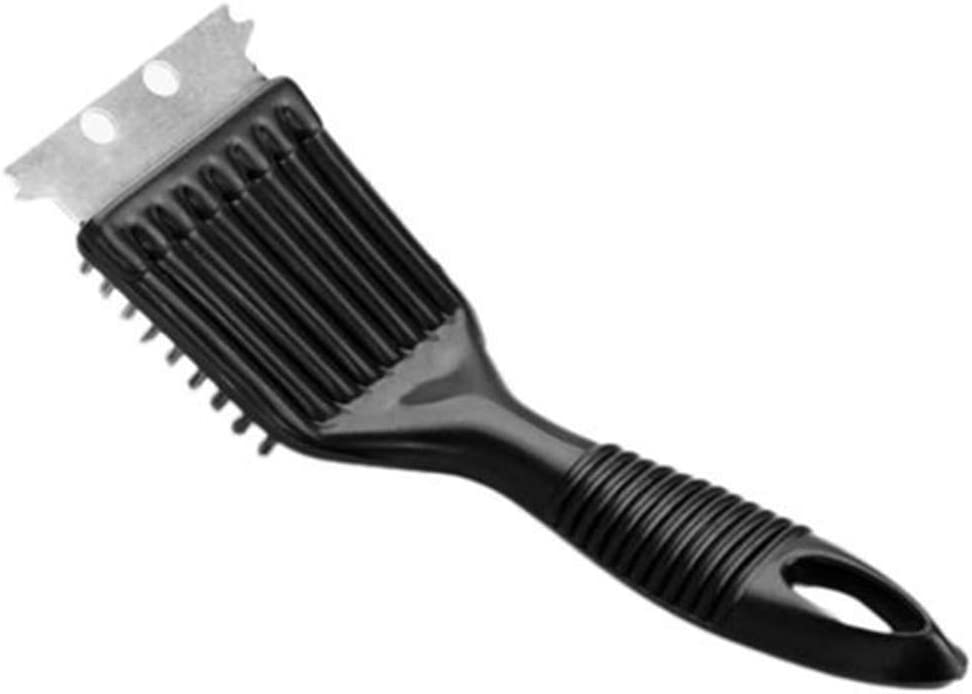 CoURTerzsl Barbecue,BBQ Barbecue Grill Cleaner Brush Metal Scraper Steel Wire Cooking Cleaning Tool Black
