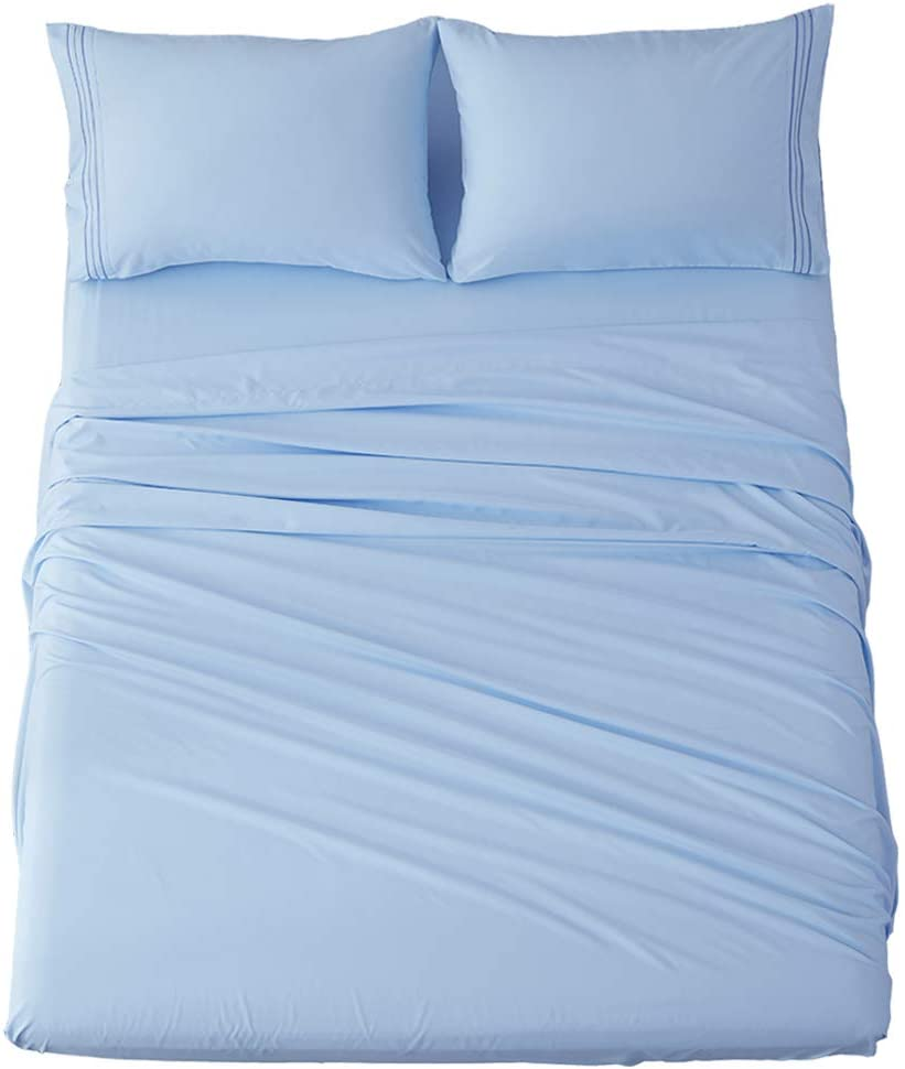Shilucheng Bed Sheets Set Microfiber 1800 Thread Count Percale Super Soft and Comforterble 16 Inch Deep Pockets Wrinkle Fade and Hypoallergenic - 3 Piece (Twin, Lake Blue)
