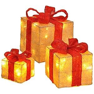 Bambelaa! Led Decorazione Light Gift Boxes - Set di 3 incl. Funzione Timer - Decorazione natalizia Decorazione natalizia Decorazione di Natale Illuminazione (Giallo) 9 spesavip