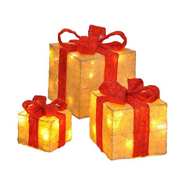 Bambelaa! Led Decorazione Light Gift Boxes - Set di 3 incl. Funzione Timer - Decorazione natalizia Decorazione natalizia Decorazione di Natale Illuminazione (Giallo) 1 spesavip