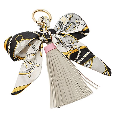 QTMY Silk Ribbon Bow Tassel Bag Pendant Charm Keyring Keychain for Women Purse Handbag Decor