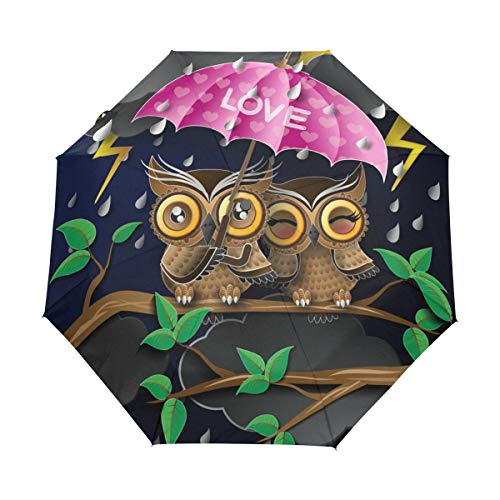 Harajuku Style Lover Owl Pink Love 100% Polyester Pongee Windproof Fabric Travel Umbrella, Compact Automatic Open and Close Folding UV and Rain Umbrella]()