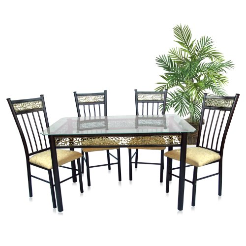 Home Source Industries 5 Piece Bronza Dinette With Glass