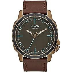Nixon Men's 'Ranger Ops' Quartz Leather Automatic Watch, Color:Brown (Model: A9142373-00)