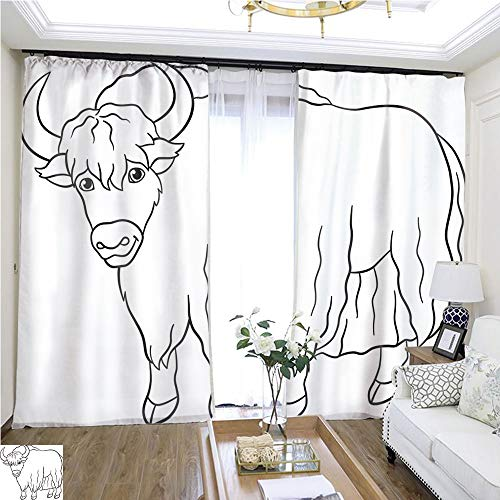 Christmas Curtain Coloring Pages Cute Beautiful Yak Smiles 2 W72 x L81 Comfortable Space Curtain Highprecision Curtains for bedrooms Living Rooms Kitchens etc. -
