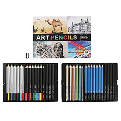 Premium Art Pencils, Magicfly 60 Assorted Pencil Set for Sketching Drawing Coloring Pencil, Including Charcoal Pencil, Watercolor, Colored, Drawing, and Metallic Color Pencils, Color Name on Pencil