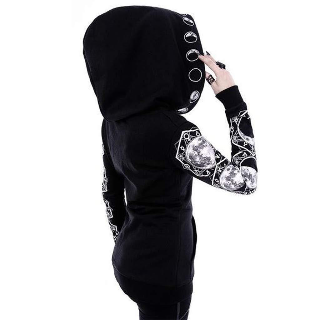 FRAUIT Damen Gothic T-Shirt Punk Schwarz Bluse V-Ausschnitt Choker Top Kurzarm Shirt Moon Drucken Top mit Kragen Mode Freizeit Oberteil Elegant Wundersch/ön Streetwear
