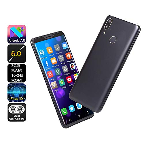 Jeeke 6.1 inch Dual HD Camera Smart Phones - Android 16GB Dual-SIM Call Mobile Phone - Face Recognition MTK6580A Quad Core 3G (Black)