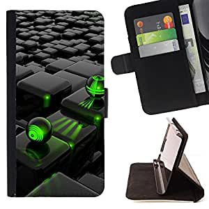 For Sony Xperia Z5 5.2 Inch Smartphone Abstract Green Black Style PU Leather Case Wallet Flip Stand Flap Closure Cover
