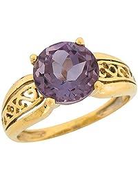 14k Real Yellow Gold 3.3ct Amethyst Ornate Exquistite Designer Ladies Ring