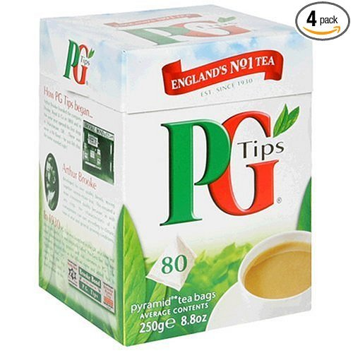 PG Tips Black Tea, Pyramid Tea Bags, 80-Count Boxes (Pack of 4) ()