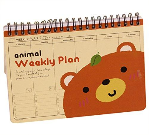 Cute Notebook Creative Cartoon Animals Schedule Note Book Week Plans Notepad Weekly Plan Book (brown bear)