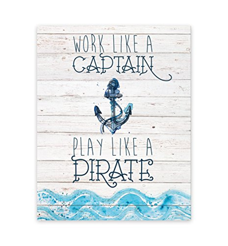 Work Like A Captain, Play Like A Pirate 11x14 Print, Pirate Art For Kids, Baby Art, Nursery Décor for Baby Boy, Pirate Artwork, Ahoey Mate!, Anchor Wheel Sailing Ocean Wall Decor Art Prints