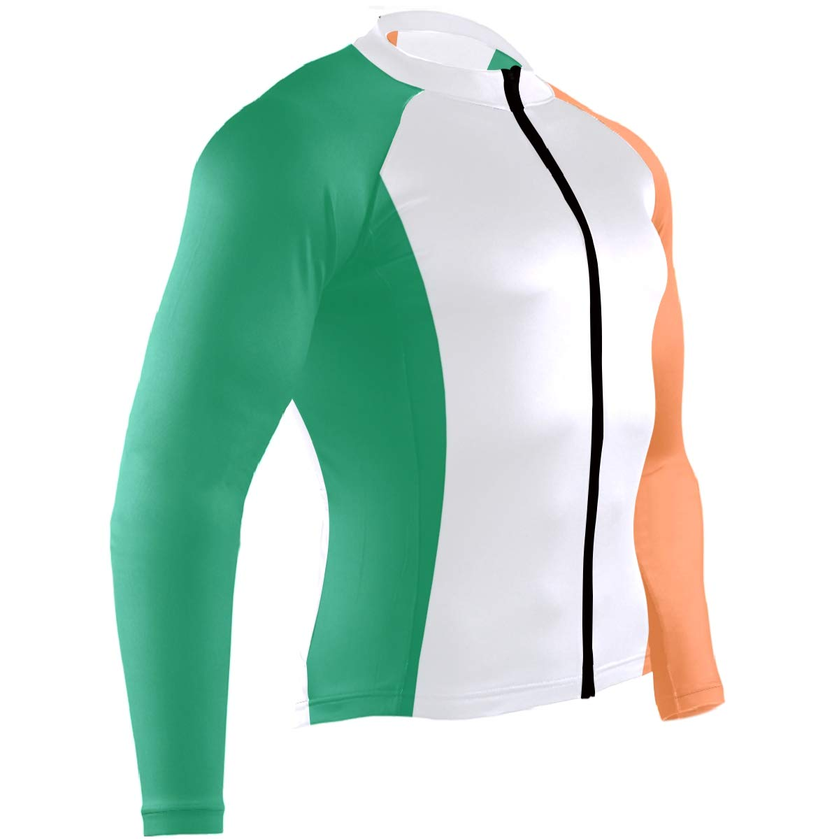 CHINEIN Mens Cycling Jersey Long Sleeve with 3 Rear Pockets Suit Ireland Flag