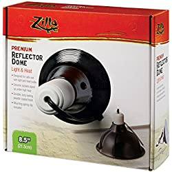 Zilla Reptile Terrarium Heat Lamps & Habitat Lighting Dome, Blk 8.5-in