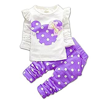M RACLE Baby Girls' 2 Pieces Polka Dot Top Leggings Clothing Set Outfits(100,Purple)
