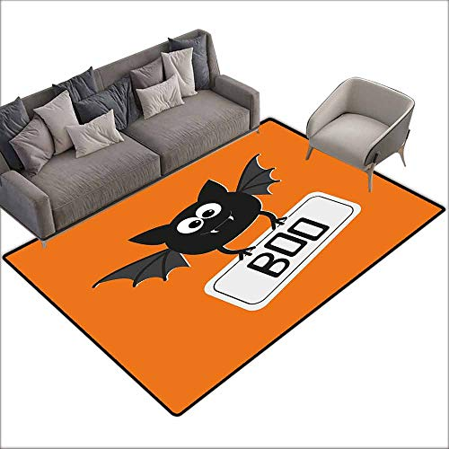 Carpet for Living Room Halloween,Cute Funny Bat with Plate Boo Fangs Scare Frighten Seasonal Cartoon Print,Orange Black White 80