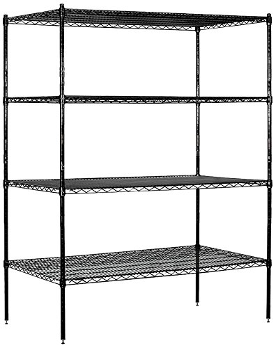 Salsbury Industries Stationary Wire Shelving Unit, 60-Inch Wide by 74-Inch High by 24-Inch Deep, Black by Salsbury Industries