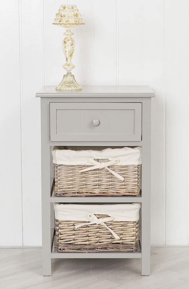 Sue Ryder Grey Bedside table Unit with Wicker Storage Baskets Shabby Chic