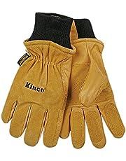 KINCO 901-M Men's Pigskin Leather Ski Glove, Heat Keep Thermal Lining, Draylon Thread, Medium, Golden